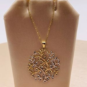 NWOT Two-Toned 14K Gold Round Pendant Necklace